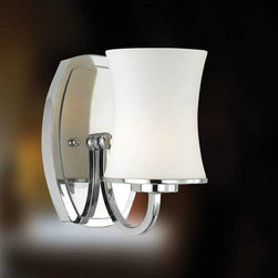 Eurofase - Eurofase 19405-018 Dorado 1 Light Wall Sconce in Chrome 19405-018 - Curvaceously cut shades are audaciously pointed downwards in a display of omniscient illumination. The slender arc of the smooth onyx arms demonstrates the fluid structure of the design, making Dorado a classic representation of the artistic mastery Eurofase is known for.A19 BulbBulb Base: E26 Bulb Included: No Bulb Type: Incandescent Collection: Dorado Extension: 7 Finish: Chrome Height: 7-3 4 Length: 5 Light Direction: Up Lighting Max Wattage: 60 Number of Lights: 1 Safety Rating: cULus Shade Finish: OpalWhite Socket 1 Base: E26 Socket 1 Max Wattage: 60 Style: Traditional Classic Suggested Room Fit: Bathroom, Bedroom Voltage: 120