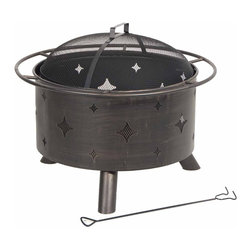 Kay Home Products - Lantana Steel Fire Bowl - For burning wood and artificial logs. Antique bronze bowl, enhanced with decorative diamond cutouts and steel safety ring. Full 360 degrees view of fire with fine wire mesh lift-off spark screen. Log grate and fire tool included.Features:
