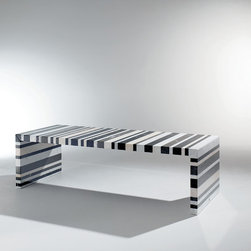BARCODE DINING TABLE BY DRAENERT - This is the most exquisite table that you have ever seen – the Barcode table by Draenert. It makes a major statement as a dining table, work space or conference table. Its pattern and colors are striking and attractive. Made of stone and steel, it is 100% recyclable and expertly and artistically crafted by combining 200 different stone types, each with their own unique characteristics. Produced in 2 different dimensions.  Available through Home Resource