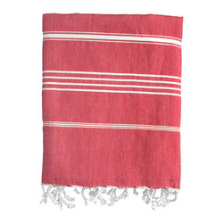 Nine Space - Stripe Fouta Towel, Red - Give your space a Mediterranean makeover with the addition of this thin-striped fouta. Woven from pure Turkish cotton, it adds an instant shot of color and texture wherever you place it — across the dining table, along the back of a couch or hanging in the guest bath. Use it poolside or at the beach as a sophisticated wrap or towel.