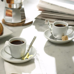 Great White Espresso Cup and Saucer - These white espresso cups will set the tone for dessert.