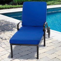 "None - Indoor/ Outdoor 25"" Wide Chaise Lounge Cushion with Sunbrella Fabric Solid Brigh - These outdoor chaise lounge cushions provide you with comfort while sunbathing. These high-quality cushions are cased in Sunbrella fabric,which is mildew and stain resistant. The cover is easy to zip off and throw in the washing machine."