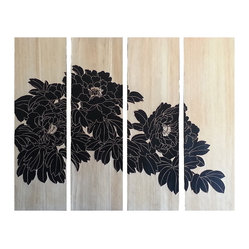 Carved Wooden Wall Panel - Rather than the usual array of photos, grace your wall with this unique hand-carved wall panel. it features a gorgeous floral design spread out over four panels that can be hung flush or with a small gap in between. Your choice of black or natural.