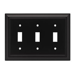 Liberty Hardware - Liberty Hardware 64215 Architectural WP Collection 6.78 Inch Switch Plate - A simple change can make a huge impact on the look and feel of any room. Change out your old wall plates and give any room a brand new feel. Experience the look of a quality Liberty Hardware wall plate. Width - 6.78 Inch, Height - 4.9 Inch, Projection - 0.2 Inch, Finish - Flat Black, Weight - 0.64 Lbs.