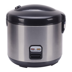 Sunpentown - Rice Cooker with Stainless Body, 10-Cup - Cook various dishes with this rice cooker. You can steam rice, porridge, soup, stew and much more. Features one-touch operation and convenient carrying handle. Automatically switches to WARM mode.