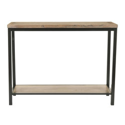 Safavieh - Dennis Console - Brown - With its understated industrial look the clean-lined Dennis Console is the ideal piece to refresh a room. A transitional take on the rough wood movement, it is built to last from solid elm with Parson's style metal legs and frame. Perfect in a hallway or behind a sofa, the Dennis Console also looks great in pairs against a long wall.
