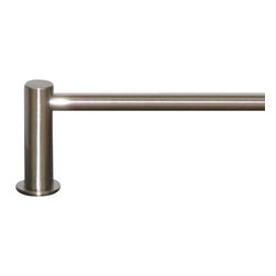 "Top Knobs - Hopewell Bath 18"" Single Towel Rod - Brushed Satin Nickel - Length - 19 1/2"", Projection - 3 5/8"", Center to Center - 18"", Bar Stock Diameter - 5/8"" Base Diameter - 1 1/2"" w (x) 1 1/2"" h"