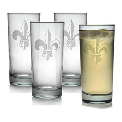 INSTEN - Fleur De Lis Hiball Glasses (Set of 4) - This set of hiball glasses features a hand-cut fleur de lis pattern honed by the skilled artisans of Susquehanna Glass. Accent your home bar collection or give this set of glasses as a gift to a friend.