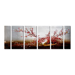 Pure Art - End of Winter Flower Wall Art Set of 6 - This oversized, six-panel artwork will bring the grace and beauty of early spring blooms to your decor all year long. It features bold, red blossoms dotting branches that arch and turn in a variety of directions, adding flourish to the design. The flower studded branches are arranged in a bottle type vase that is turned on its side.Made with top grade aluminum material and handcrafted with the use of special colors, it is a very appealing piece that sticks out with its genuine glow. Easy to hang and clean.