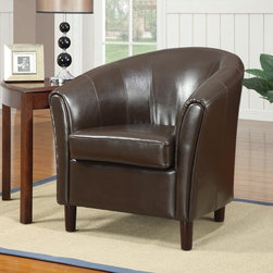 Coaster - Brown Casual Accent Chair - Welcoming total comfort, this chair features a tight curved barrel back and soft seat cushion. Chair comes in rich chocolate.