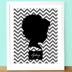 Custom Silhouette Portrait with Chevrons by Jennifer Alexis Design - I love these sweet chevron silhouette portraits. They're a fun keepsake, and they come it many colors to go with your nursery.