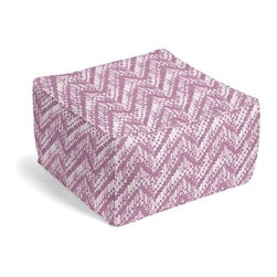 Purple Watercolor Zig Zag Custom Pouf - The Square Pouf is the hottest thing in decor since the sectional sofa. This bean bag meets Moroccan style ottoman does triple duty as a comfy extra seat, fashion-forward footstool, or part-time occasional table. We love it in this orchid purple and white stepped zig zag print with a modern, yet soft and subtle look.