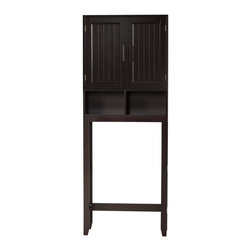 None - Covington Dark Espresso Space Saver - Extra shelf space will be yours with this sturdy bathroom space saver by Covington. Made from composite and birch wood, this piece is finished with a rich, dark veneer and will make a fine addition to any washrooms decorative style.