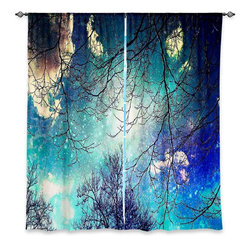 """DiaNoche Designs - Window Curtains Lined by Sylvia Cook Night Sky - DiaNoche Designs works with artists from around the world to print their stunning works to many unique home decor items.  Purchasing window curtains just got easier and better! Create a designer look to any of your living spaces with our decorative and unique """"Lined Window Curtains."""" Perfect for the living room, dining room or bedroom, these artistic curtains are an easy and inexpensive way to add color and style when decorating your home.  This is a woven poly material that filters outside light and creates a privacy barrier.  Each package includes two easy-to-hang, 3 inch diameter pole-pocket curtain panels.  The width listed is the total measurement of the two panels.  Curtain rod sold separately. Easy care, machine wash cold, tumble dry low, iron low if needed.  Printed in the USA."""