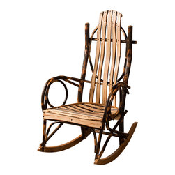 Amish Made Hickory Rocker (Live Edge Slats), Without Footrest - Do not be fooled by cheap knock-offs. We offer the best made real branch, Amish Furniture available.