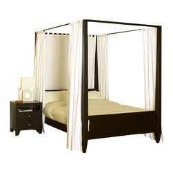 Lifestyle Solutions - Lifestyle Solutions Wilshire 4-Piece Canopy Bedroom Set in Cappuccino - Queen - The Wilshire bed is crafted from solid hardwoods and laminates with a veneer finish. This bed is a modern design and the classic elements of a four-poster bed blend to create this stunning addition to your bedroom. The delicate panels on the headboard and footboard add interest while maintaining the clean and crisp lines. Finished in dark Cappuccino finish, this bed is an impressive addition to any modern bedroom set.. Complimentary 500 Series casegoods complete the look. The 4PC group comes with bed, 1 nightstand, dresser and mirror. Other configurations available.
