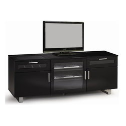 Coaster - Contemporary TV Console - One connect-it power drawer. One additional storage drawer. Center glass door. Two shelves behind door. Two side doors with storage Inside. Contemporary hardware. Easy access wire management. Metal legs. High gloss black finish. 59.75 in. W x 17.75 in. D x 23.5 in. H (117 lbs.). WarrantyEnjoy modern style and functionality for your living room and essential electronics with this 59.75 in. TV console.
