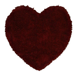 "LR Resources - Shag Senses Shag Shapes Heart 4'0""x4' Heart Red Area Rug - The Senses Shag Shapes area rug Collection offers an affordable assortment of Shag stylings. Senses Shag Shapes features a blend of natural Red color. Hand Tufted of Polyester the Senses Shag Shapes Collection is an intriguing compliment to any decor."