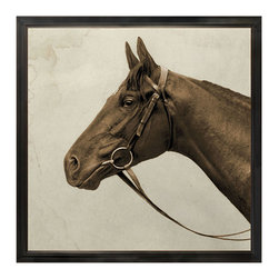 Kathy Kuo Home - Royal Ascot Lord Denver Rustic Lodge Horse Head Photo Wall Art - Framed - Put a winner on your wall with this sleek equine portrait of a racehorse from Ascot. This aged, deckled and floated photograph comes on lovely linen, and is available framed or unframed.