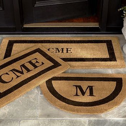 """Monogrammed Extra-Large Doormat, 30 x 48"""", Espresso - Our hand-screened doormat makes a welcoming statement for holiday guests. Add a monogram for a more personal look. Border and monogram: choose from black or espresso. Thickly woven of naturally durable coir, a fiber derived from the outer husk of coconut shells. May be monogrammed at no additional charge. Monogram will be centered on the doormat. Catalog / Internet Only. Imported."""