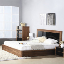 Hokku Designs - Stark Platform Bed - Features: -Walnut veneer and high-gloss deep black lacquer.-Checkered high-gloss insert on headboard.-Thick frame for dramatic effect.-Platform slats system for mattress support.-Sunken mattress placement.-Vertical headboard design to minimize space requirement.-Offers excellent workmanship in a contemporary package.-Construction: Wood solids and veneer on medium density fiberboard.-Stark collection.-Please note: Optional Serta Mattress and box spring ships separately from bedroom furniture, and may arrive for delivery on an earlier or later date than bedroom furniture.-Distressed: No.-Collection: Stark.Dimensions: -Overall Product Weight: 106 lbs.Warranty: -One year warranty.