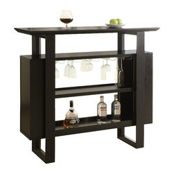 Monarch Specialties - Monarch Specialties 2548 Bar Unit with Bottle and Glass Storage in Cappuccino - This stylish and contemporary bar unit offers great features and functionality. Space saving wine glass racks and ample shelf space for bottle storage makes this bar unit the ultimate entertaining spot in your home. There is a rich cappuccino finish with a large serving space on top.