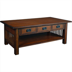"""Hammary - Canyon Rectangular Cocktail Table in Mission Oak Finish - """"It's possible to arrange a totally uniquesetting when you choose the """"""""Canyon""""""""collection from Hammary. Thesemission-styled occasional tables blendnaturally with all types of eclecticdecorating themes."""