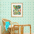 Large Rattan Wallpaper Bari J Stencil - Large Rattan Wallpaper Bari J Stencil from Royal Design Studio Stencils. This handpainted, allover, rattan wall pattern brings the outdoors in to this sitting room. This design looks great on furniture, fabric and even floors.