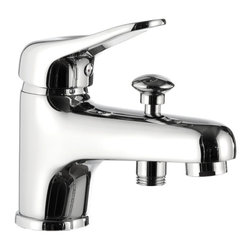 Remer - Deck Mounted Chrome Tub Filler With Diverter - This deck mounted single lever mixer was made in Italy by designer Remer.