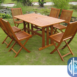 International Caravan - International Caravan Royal Tahiti Zamora 7-Piece Outdoor Dining Set - Provide your patio or yard with furnishings from this wood seven-piece outdoor dining set. Made of balau hardwood, this set features a table and six folding chairs designed for maximum comfort. The table and chairs are weather resistant.
