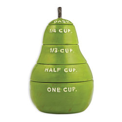 Magenta - Pear Measuring Cups - Glossy stoneware measuring cups stack in a pear shape for a functional kitchen decoration.