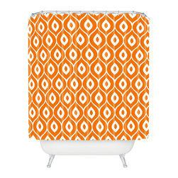 DENY Designs - Aimee St Hill Leela Orange Shower Curtain - Who says bathrooms can't be fun? To get the most bang for your buck, start with an artistic, inventive shower curtain. We've got endless options that will really make your bathroom pop. Heck, your guests may start spending a little extra time in there because of it!