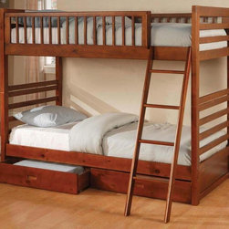 Coaster - Ogletown Twin Over Twin Bunk Bed - Mattress not included. Twin over twin bunk bed. Made from wood veneers and solids. Oak finish. Built-in ladder. Requires two 9 in. thick twin mattresses. Casual style. Built-in guard rails. Two under-bed storage drawers. Clean, smooth edges. 78.38 in. L x 42 in. W x 65 in. H. Warranty. Bunk Bed Warning. Please read before purchase.. NOTE: ivgStores DOES NOT offer assembly on loft beds or bunk bedsWith space saving features, the warm designs and functional character of this twin bunk bed will make wonderful addition to child's bedroom.