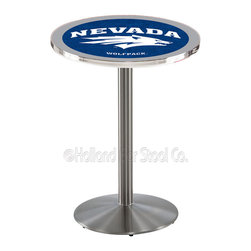 Holland Bar Stool - Holland Bar Stool L214 - Stainless Steel Nevada Pub Table - L214 - Stainless Steel Nevada Pub Table belongs to College Collection by Holland Bar Stool Made for the ultimate sports fan, impress your buddies with this knockout from Holland Bar Stool. This L214 Nevada table with round base provides a commercial quality piece to for your Man Cave. You can't find a higher quality logo table on the market. The plating grade steel used to build the frame ensures it will withstand the abuse of the rowdiest of friends for years to come. The structure is 304 Stainless to ensure a rich, sleek, long lasting finish. If you're finishing your bar or game room, do it right with a table from Holland Bar Stool. Pub Table (1)