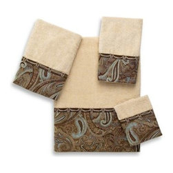 Avanti - Avanti Bradford Bath Towel - A classic paisley motif in browns and blues with coordinating braid looks great on these linen-colored towels. An elegant addition to any bathroom decor.