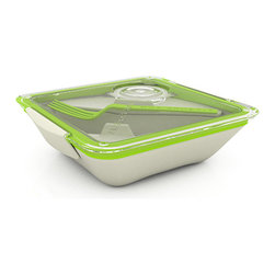 Black+Blum - Box Appetite - Lunch Box - Black+Blum - A revolutionary new lunch box. More like a ceramic bowl than your standard food container and with better functionality. The 'glass like' lid locks to the body for a water tight seal and has an ingenious sauce dipping area (good for sushi lovers). A sauce pot is ideal for salad dressing (or ketchup), so you can dress your salad just before you eat it. An inner dish allows you to split different foods so you can microwave a hot dish, but keep other foods cold. We have also included a fork / knife for easy one handed eating.
