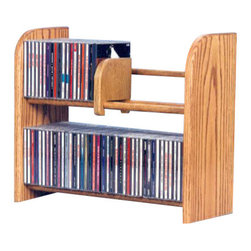 CD Racks - Solid Oak 2 Row Dowel CD Rack - Handcrafted by the Wood Shed from durable solid oak hardwood