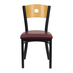 Flash Furniture - Flash Furniture Hercules Series Black Metal Chair with Burgundy Seat - Flash Furniture - Dining Chairs - XUDG6F2BCIRBURVGG - Provide your customers with the ultimate dining experience by offering great food service and attractive furnishings. This heavy duty commercial metal chair is ideal for Restaurants Hotels Bars Lounges and in the Home. Whether you are setting up a new facility or in need of a upgrade this attractive chair will complement any environment. This metal chair is lightweight and will make it easy to move around. For added comfort this chair is comfortably padded in vinyl upholstery. This easy to clean chair will complement any environment to fill the void in your decor. [XU-DG-6F2B-CIR-BURV-GG]