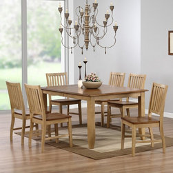 Sunset Trading - Sunset Trading Brookhaven 7 Piece Rectangle Dining Set with Brookdale Chairs Mul - Shop for Dining Sets from Hayneedle.com! The Sunset Trading Brookhaven 7 Piece Rectangle Dining Set with Brookdale Chairs makes your dining room a welcoming place for friends and family. Country fresh charm a generous tabletop and comfortable seating make this set perfect for you. The table includes an 18-inch leaf which expands it large enough to always be able to fit a few more around the table. The brookhaven seven-piece dining set is built sturdy enough to withstand everyday use so it will be in your family for years. All pieces in this classic dining room set are crafted of eco-friendly Malaysian oak and have a distinctive two-tone finish. The frames are finished in wheat with contrasting pecan tabletop and seats. This set includes the table leaf and six slat back chairs.About Sunset TradingThis product is designed and manufactured by Sunset Trading. Located in Londonderry New Hampshire Sunset Trading creates high quality furniture for bedrooms living and dining rooms. Their furniture features side roller drawer guides four corner English dovetails solids and veneers. Dining rooms feature epoxy resin constructed chairs with metal support brackets which make their chairs 100 times stronger than glued chairs. Rest assured you're making an excellent choice when you purchase a fine furniture item from Sunset Trading.