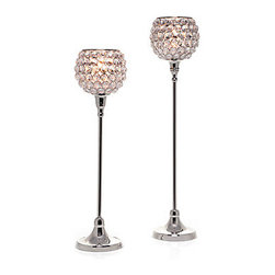 Z Gallerie - Bling Tealight Lamp - Enclosed with a chandelier of crystals, our tea light candleholder majestically radiates as a shining pair. The bling of this lamp is enhanced with elongated polished silver stems. Available in two sizes, 17 and 20 inches. Sold separately.