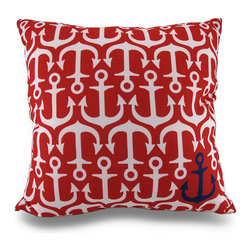 Indoor/Outdoor Red/White Anchor Throw Pillow w/Navy Blue Anchor Accent - Accent your home inside or out in nautical style with this vivid red and white anchor throw pillow that`s perfect for your living room sofa, the Adirondack chair on the patio or the chaise lounge in your garden oasis. The 100% polyester cover is water repellent and it`s filled with 100% polyester fiber. Measuring 18 inches high by 18 inches long (46 cm by 46 cm), it would look amazing by a pool area, in your seaside cottage or just tossed on the bed, and features a navy blue anchor accent on both sides. It is recommended to dry clean or spot clean only. This bright and cheerful throw pillow would make an excellent housewarming gift for any nautical style fans!