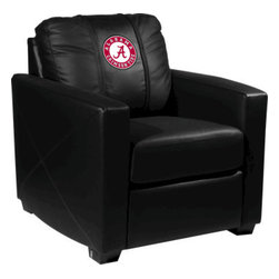 Dreamseat Inc. - University of Alabama NCAA Crimson Tide Xcalibur Leather Arm Chair - Check out this incredible Arm Chair. It's the ultimate in modern styled home leather furniture, and it's one of the coolest things we've ever seen. This is unbelievably comfortable - once you're in it, you won't want to get up. Features a zip-in-zip-out logo panel embroidered with 70,000 stitches. Converts from a solid color to custom-logo furniture in seconds - perfect for a shared or multi-purpose room. Root for several teams? Simply swap the panels out when the seasons change. This is a true statement piece that is perfect for your Man Cave, Game Room, basement or garage.
