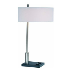 Lite Source - Lite Source LS-21396 1 Light Table Lamp with White Fabric Shade from the Funktio - 1 Light Table Lamp with White Fabric Shade from the Funktions Series