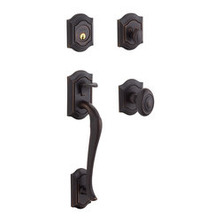 Baldwin Hardware - Baldwin Estate 85327 Bethpage Handleset, Venetian Bronze - Keyed Entry - Equipped with Bethpage Knob
