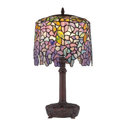 Quoizel Lighting - Quoizel Lighting TF1139T 1 Light Down Lighting Purple Wisteria Table LampTiffany - This down lighting table lamp from the Tiffany collection features a beautiful amber glass shade providing soft, diffused light.
