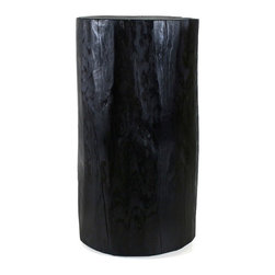 "Pfeifer Studio - Lacquered Log Table, 12""dia X 16""h - Our Lacquered Log Tables are created from rough-cut solid logs harvested in the mountains of Northern New Mexico. They are dried in a solar kiln and finished with an ebony penetrating dye stain before being sealed with a traditional clear lacquer topcoat with a satin sheen and waxy finish. Our tables are in stock and finished-to-order."
