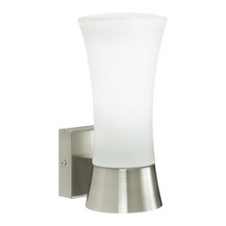 Eglo - Wall Street - �Outdoor Wall Light in stainless steel by Eglo. UL Rated for wet Location.Product IdentificationCollection � � ��Wall StreetCategoryOutdoor Wall Light�Design InformationFinish� Stainless Steel�Glass�� �-�Dimensions and Weight (inches and pounds)�Dimensions � �� �LENGTH � �� �WIDTH �� �HEIGHT � �� �EXT � �WEIGHT-6.2510.62 ��-4�Bulb Information������ �� ���� ���� �Bulb Type� ��A19Number of Bulbs�� �1Max Wattage60WBulb Included�� ��Product Rating���������� ����Voltage120VOutdoor Rating�-UL RatingWet