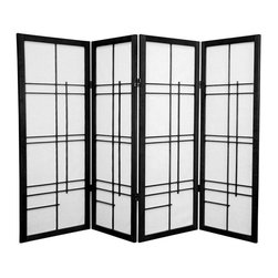 Oriental Furniture - 4 ft. Tall Eudes Shoji Screen - Black - 4 Panels - This graceful four foot tall folding Japanese Shoji screen features an avant-garde wooden lattice. The supple spruce frame and translucent washi paper panels are elegantly light and delightfully airy, making it the perfect choice for adding a decorative accent, dividing a room, or hiding the space beneath a table or desk.