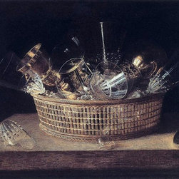 """Sebastien Stoskopff Still-Life of Glasses in a Basket   Print - 16"""" x 24"""" Sebastien Stoskopff Still-Life of Glasses in a Basket premium archival print reproduced to meet museum quality standards. Our museum quality archival prints are produced using high-precision print technology for a more accurate reproduction printed on high quality, heavyweight matte presentation paper with fade-resistant, archival inks. Our progressive business model allows us to offer works of art to you at the best wholesale pricing, significantly less than art gallery prices, affordable to all. This line of artwork is produced with extra white border space (if you choose to have it framed, for your framer to work with to frame properly or utilize a larger mat and/or frame).  We present a comprehensive collection of exceptional art reproductions bySebastien Stoskopff."""