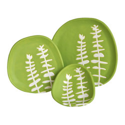 """Hope Johnson Ceramics - Set Of 3 Ceramic Dishes - Eucalyptus In Chartreuse Green - This listing is for a set of THREE dishes. The smallest dish measures approx. 1"""" tall, 4"""" long, 3.5"""" wide. The middle size dish measures approx. 1/2"""" tall, 5"""" in diameter. The largest dish measures approx. 3/4"""" tall, 6"""" in diameter."""